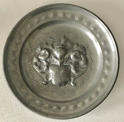 Antique German Pewter Plate European Heraldic Royalty Coat Of Arms Knight Axe