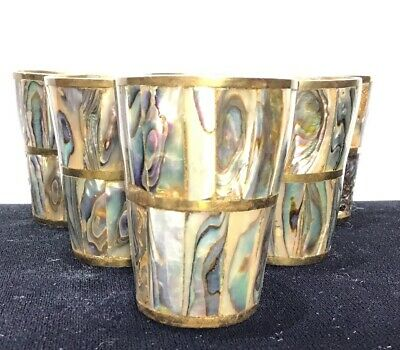 Set of 6 Vintage Abalone Inlay and Brass Shot Glasses Barware Mexico NICE