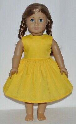 Solid Yellow Doll Dress Clothes Fits American Girl Dolls