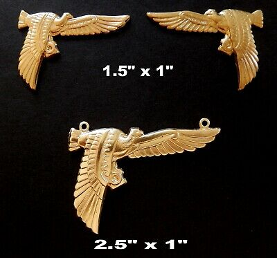 Vintage Brass Stampings Egyptian Revival/ Embossed Vulture Symbol of Protection