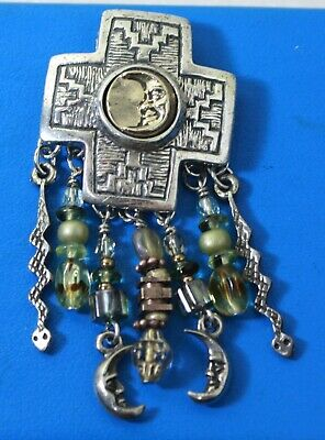 Vintage Sterling Silver 925 Signed R.S. Cross Brooch Pin Dangle Moon Snakes
