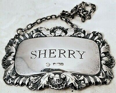 Mid-Century ENGLISH STERLING SHERRY LIQUOR BOTTLE TAG w/CHAIN Francis Howard NR