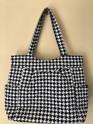 Vera Bradley Pleated Tote Midnight Houndstooth Retired Pattern Pre-owned EUC
