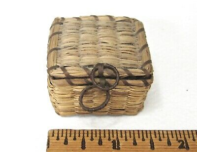 Antique Miniature Sweet Grass Basket with hinged lid