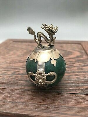 Exquisite Chinese handmade Tibetan silver  Paperweight ------dragon A2