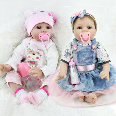 Reborn Dolls Twins Real Baby Doll Realistic Silicone Vinyl Lifelike Girl Dolls
