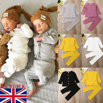 UK Newborn Baby Girl Boy Knitted Long Sleeve Tops Pants Leggings Outfits Clothes