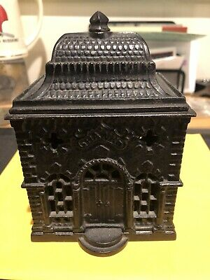 """Vtg Early 1900s Arcade 5""""cast Iron Antique Penny Coin Puzzle Still Bank Building"""