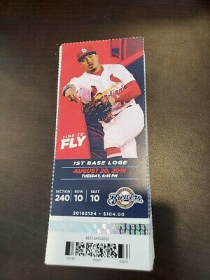 St. Louis Cardinals Milwaukee Brewers MINT Season Ticket 8/20/19 2019 MLB Stub