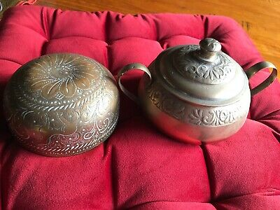 Vintage Solid Brass Etched Bowls India Cooking Condiments Spices Sugar Repousse