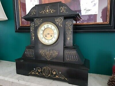 "Black 'Slate' Mantel Clock c1880/90s. Unusual large 19"" x 19"" size"
