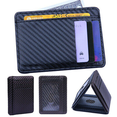 Slim Credit Money Holder Coin Leather Card Wallet Mens Clip RFID Blocking