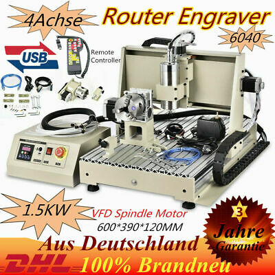 4Axis 6040 USB CNC Router Engraver Engraving Milling 3D Machine 1500W+Controller