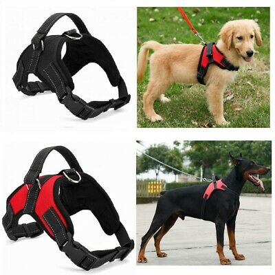 Dog Harness Collar Lead Adjustable Padded Resistant Non Pull Vest Puppy UK sg