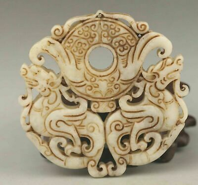 natural Chinese Hand carved old jade double dragon Amulet Pendant