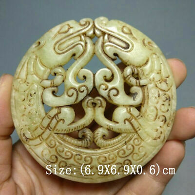 natural Chinese old jade Hand carved double dragon Amulet Pendant