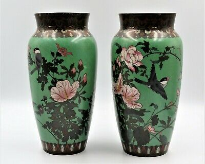 Large Pair Antique Japanese cloisonne vases Meiji decorated with birds & Flowers