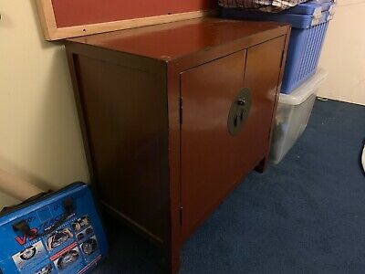 Chinese Cabinet with Red-Brown Lacquer80cm wide x 43cm deep x 75cm high