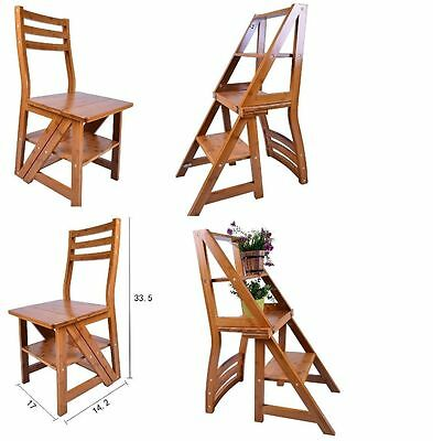 Bamboo Folding Fold Up Library Step Ladder Chair Home Kitchen Office Restaurant