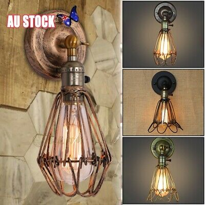 Wall Light  Antique Industrial Iron Bird Cage Up Down Bar Sconce Lamp Retro Hot