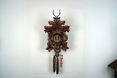 #62 Handmade Black Forest Cuckooclock - Hunters Style - Wooden Weights