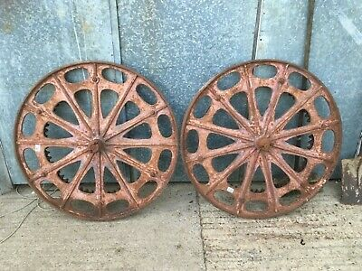 "Vintage Pair Of Old Cast Iron Land Drive Horse Drawn Machine Wheels 35 1/8"" Diam"