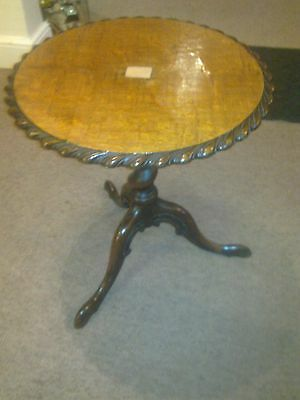 Antique pie crust edge occasional side table carved tripod legs tea coffee table