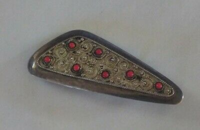 Vintage ISRAEL Sterling Silver Abstract beaded Coral Brooch