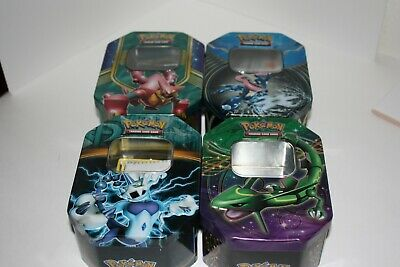Lot Of Pokemon 4X Empty Tin 3 Flipping Coins And A Blazikin Pin