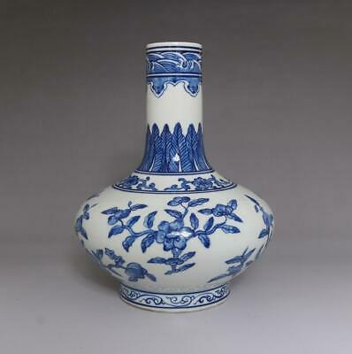 Rare Old Chinese Blue And White Porcelain Vase With Qianlong Marked (E60)