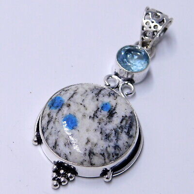 K2 Blue Azurite 925 Sterling Silver Plated Handmade Jewelry Pendant 8 Gm