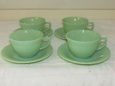 8 Pc. Anchor Hocking Fire-King Jane Ray Jadeite 4 Cups & 4 Saucers