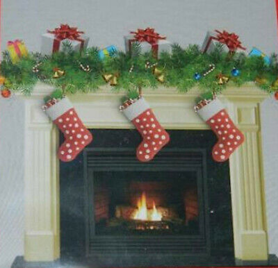 CHRISTMAS FIREPLACE mantel Scene Setter holiday hearth party wall decoration