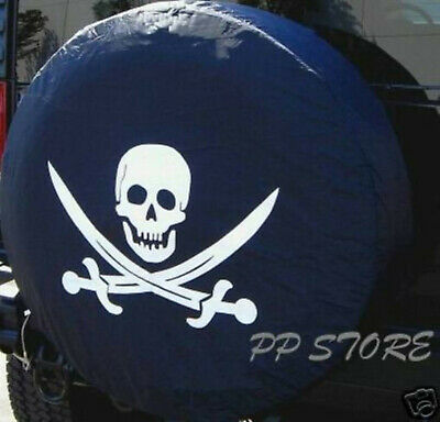 "13"" DIY trailer Spare tire tyre Wheel Cover Pirate Skull Brand New S"