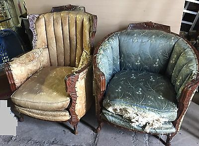 2 Victorian Antique Barrel Chairs Upholstered Wood Frames
