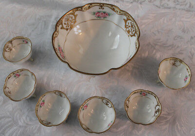 NIPPON ANTIQUE HAND PAINTED FLORAL & GOLD 7 PC Berry SAUCE BOWL SET Asian