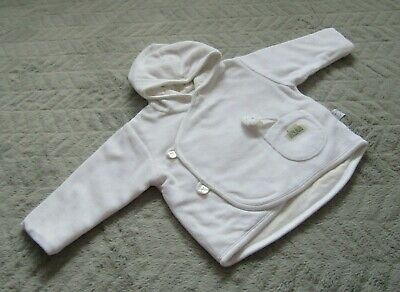 Baby Boys Girls White Hooded Jacket Striped Lining (0-3 Months) - By Mothercare