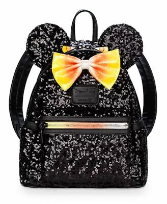 Disney Parks Halloween Minnie Mouse Candy Corn Mini Loungefly Backpack NWT