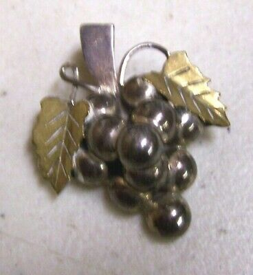 Vintage TS-79 Mexico Sterling Silver & Brass 925 Grape Leaves Pin Brooch
