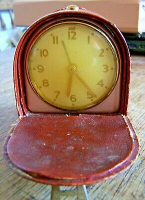 A Vintage Rare 1940's / 50's  Smiths Small Leather Bound Travelling Alarm Clock
