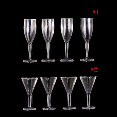 4PCS 1:12 Dollhouse Miniature DIY Cocktail Glass Red Wine Goblet BB