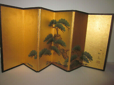 VNT tiny Japanese tabletop screen Pine Tree on gold ground signed & red seal