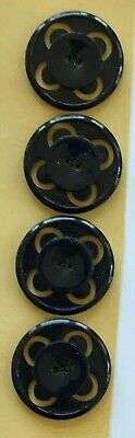 "4 Black Casein 7//8/"" 2-hole Round Center Buttons Vintage Buttons"