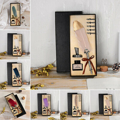 Feather Quill Pen Set with ink and Stand Penholder Calligraphy Gift Set in Box