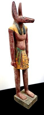 Giant Rare Anubis Sculpture Egyptian Antique Bead Faience Wooden Carved Statue