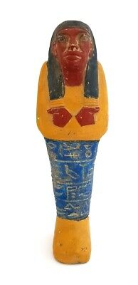 Beautiful Ancient Egyptian Blue Antiques Shabti Sculpture W/t Hieroglyphics