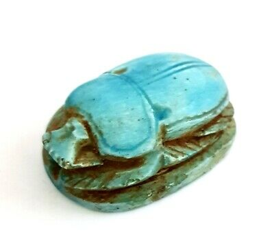 Very Rare Egyptian Blue Antique Scarab Beetle Amulet Unique Hieroglyph Faience