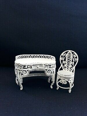 Vtg Vanity Set Table Chair Dollhouse Miniature Furniture Metal White Wire Wicker