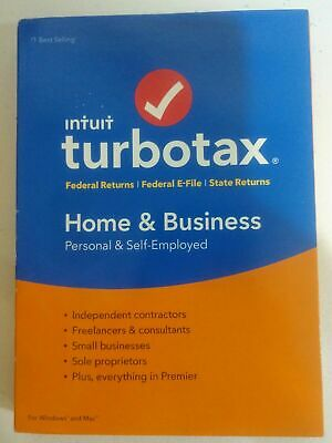 2018 Tax Year Turbo Tax Home & Business Federal/State Windows/Mac NEW Sealed