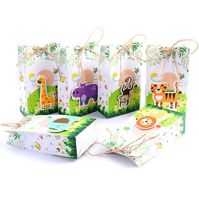 12 x Safari Animal Paper Bag Jungle Party Favour Treat Gift Candy Boxes